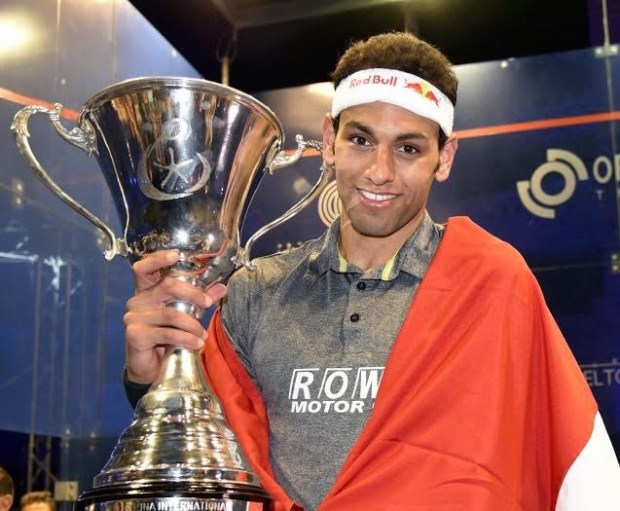 Mohamed Elshorbagy celebrates after winning the El Gouna final