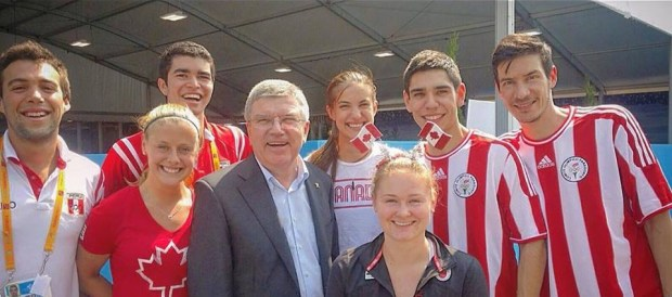 IOC chief Thomas Bach met squash players at last year's Pan-Am Games but the smiles turned sour as squash's Olympic bid was rejected in Tokyo