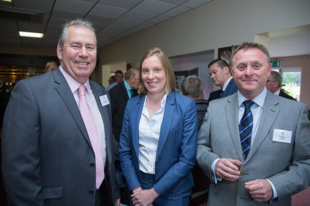 Sports Minister Tracey Crouch MP with K Sports chairman Rod Clark (right) and Squash Mad's Alan Thatcher at the club's recent launch