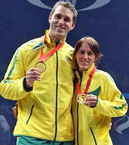 Rachael Grinham and David Palmer win the mixed doubles in Glasgow