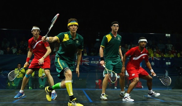 Cam Pilley and David Palmer win Commonwealth Games gold against England's Nick Matthew and Adrian Grant in 2014