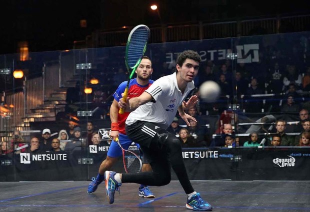 Diego Elias on the way to victory over Gregoire Marche