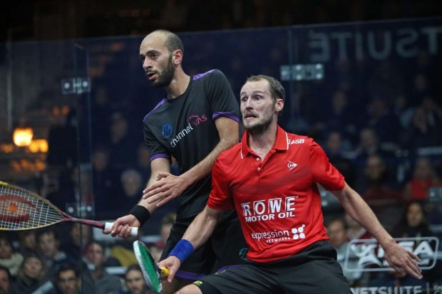 Gregory Gaultier and Marwan Elshorbagy fight for control