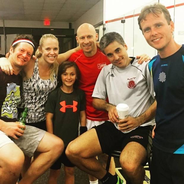 Squash legends Jonathon Power, Chris Walker, Thierry Lincou and Peter Nicol with organiser Kristi Maroc in San Diego
