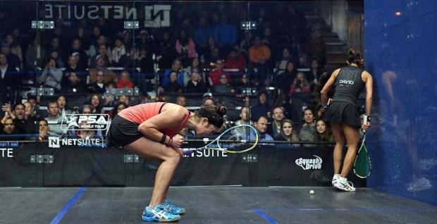 Amanda Sobhy celebrates her victory over Nicol David