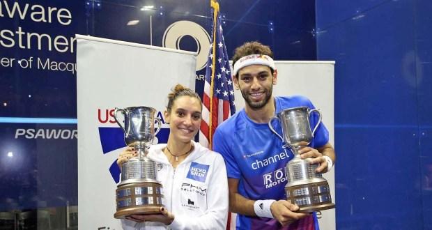 Delaware Investments US Open champions Mohamed Elshorbagy and Camille Serme
