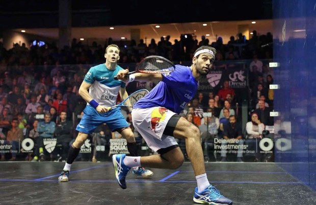 Mohamed Elshorbagy and Nick Matthew work the backhand line in the US Open final