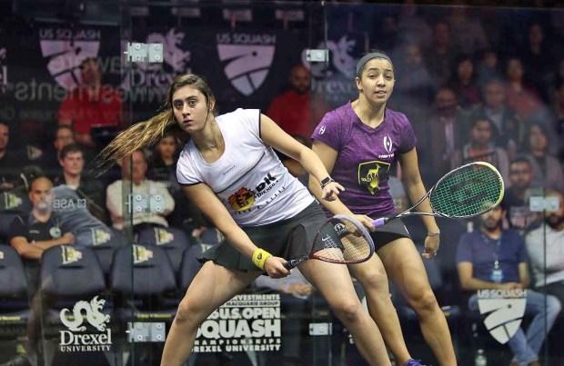 Nour El Sherbini (left) and Raneem El Welily in action