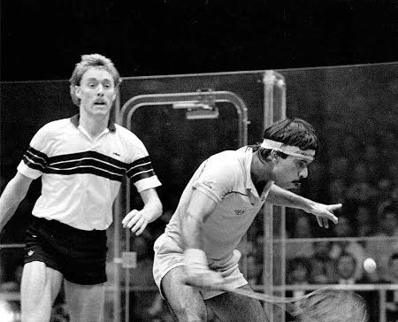 Ross Norman and Jahangir Khan in action