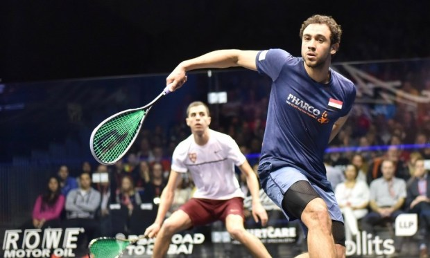 Ramy Ashour in action against Ali Farag
