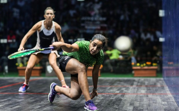 Raneem El Welily gets low on the ball