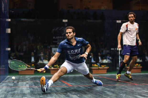New world champion Karim Gawad in action against Ramy Ashour