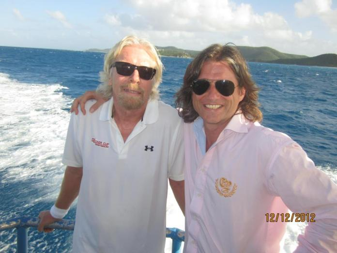 Friends in high places: Andre Maur hangs out with Richard Branson (Facebook image)