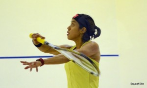 A classic backhand set-up from Nicol David. Picture by STEVE CUBBINS