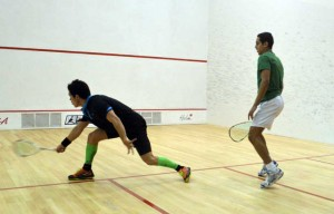 Miguel Rodriguez on the attack against Tarek Momen