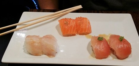 From left to right: Snapper, Salmon and Albacore Tuna