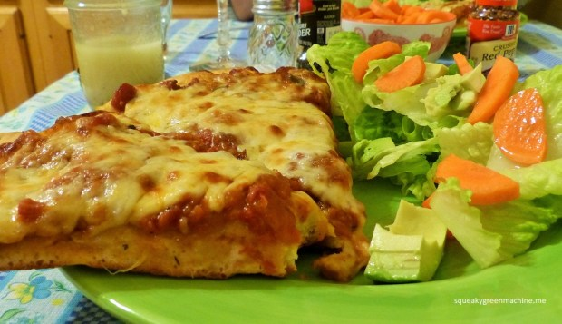 homemade pizza and salad