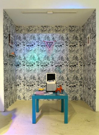 Collaborative wallpaper installation by Josh Graupera, Katie Kaplan, and Andrew Perez.
