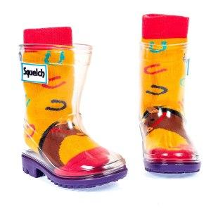 Squelch Wellies Orange Horse Sock