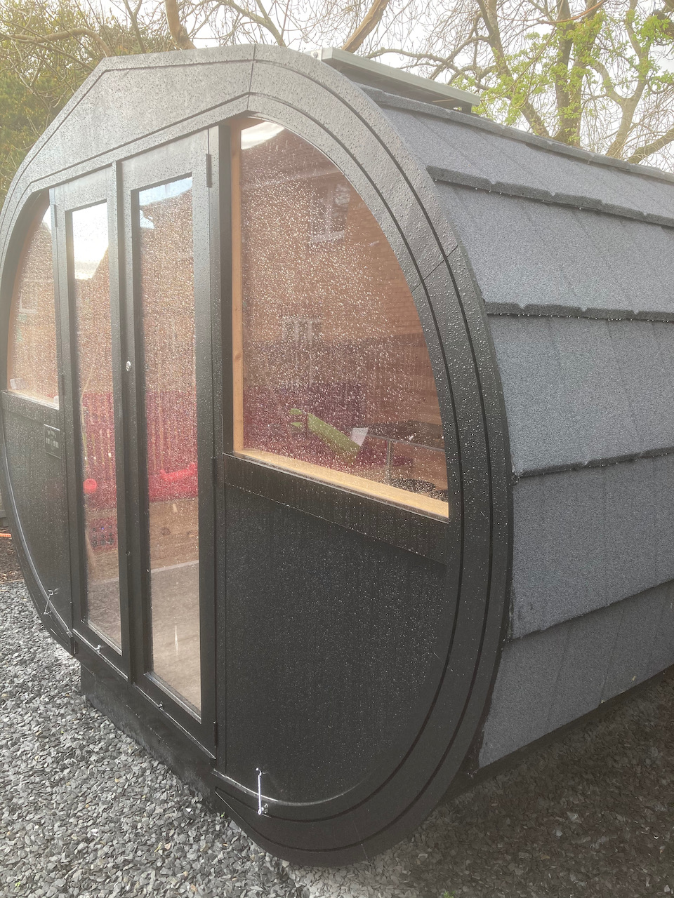 exterior of an oval pod