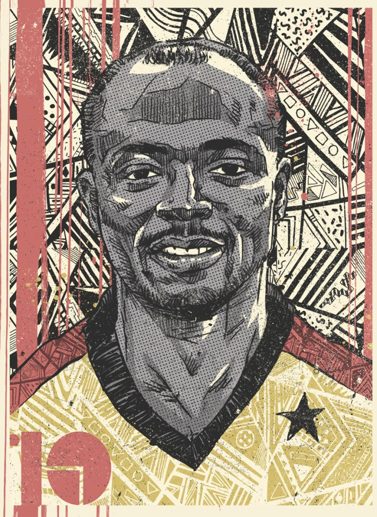 Abedi Pele from the Africa Football Legends series by Sindiso Nyoni