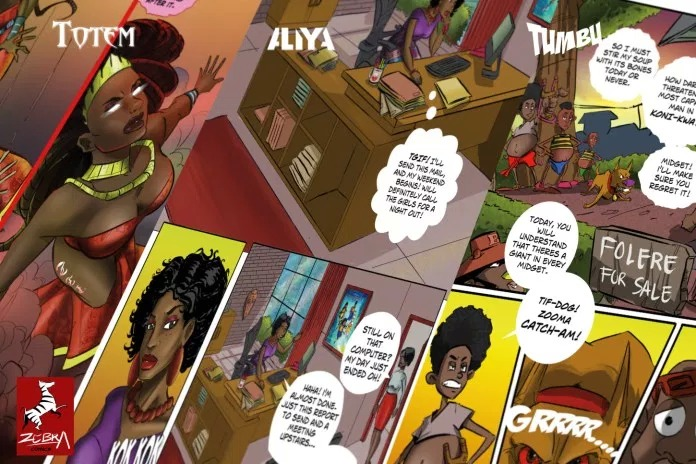 Panels from Zebra Comics' Aliya, Totem and Tumbu titles
