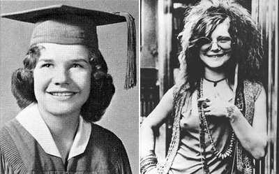 Janis Joplin at school and later.