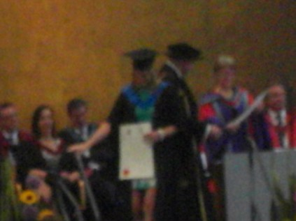 Siobhan receiving her degree.