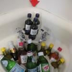 sinkful of beverages