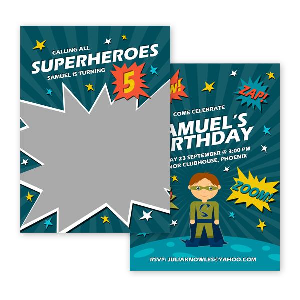 superhero boy birthday invitation card