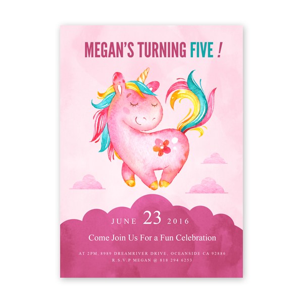 unicorn rainbow birthday invitation