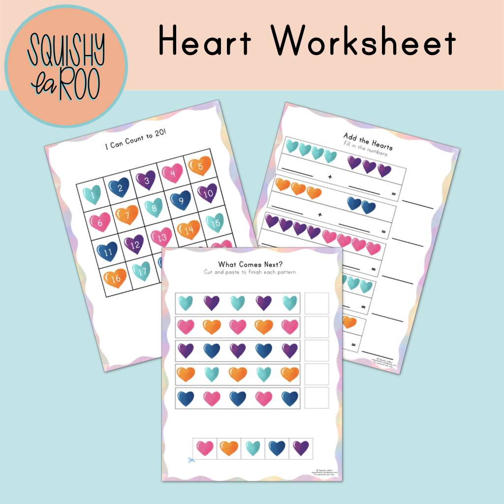 Free Heart Worksheet Printable Squishy Laroo