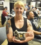 Janine and her trophy for 'Best Rat' for her Lambretta, Bethanga 2014