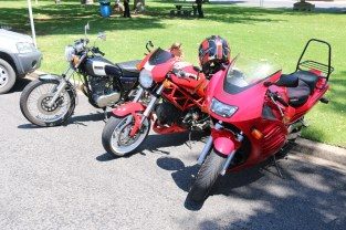 Rob's SR500, Manfred's Ducati, and Jeff's RF600, Tallangatta