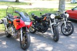 Mark's TRX850, Greg's FT500, and Stew's SR500, Tallangatta
