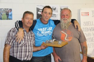 Luke receives his trophy from Jeff and Andy, Bethanga 2015