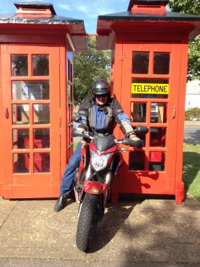 Gary tried squeezing through these two phone boxes at Ross. Too many scallop pies put paid to that idea!