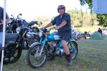 Mark takes Paul's YB100 for a spin, Bethanga 2016.