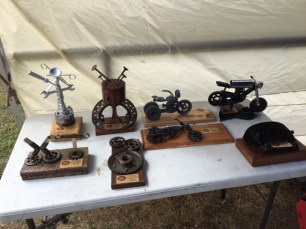 The amazing trophies for our Show 'n' Shine winners!
