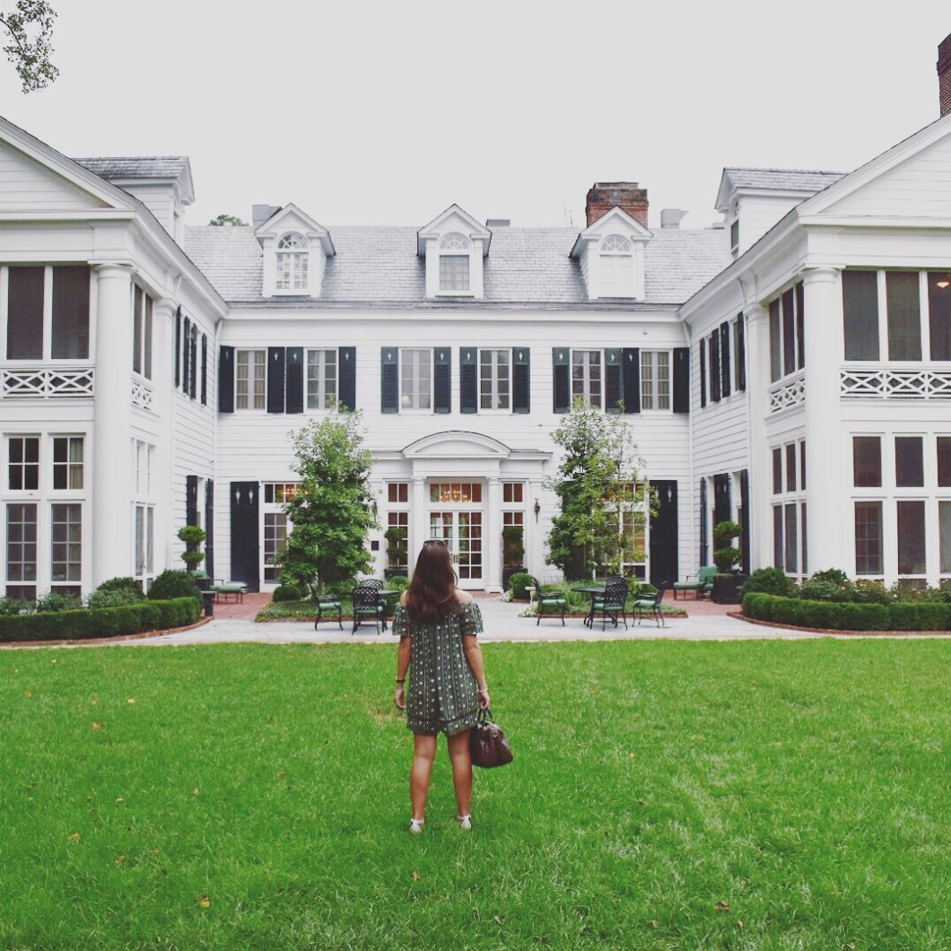 southern belle with a southern mansion