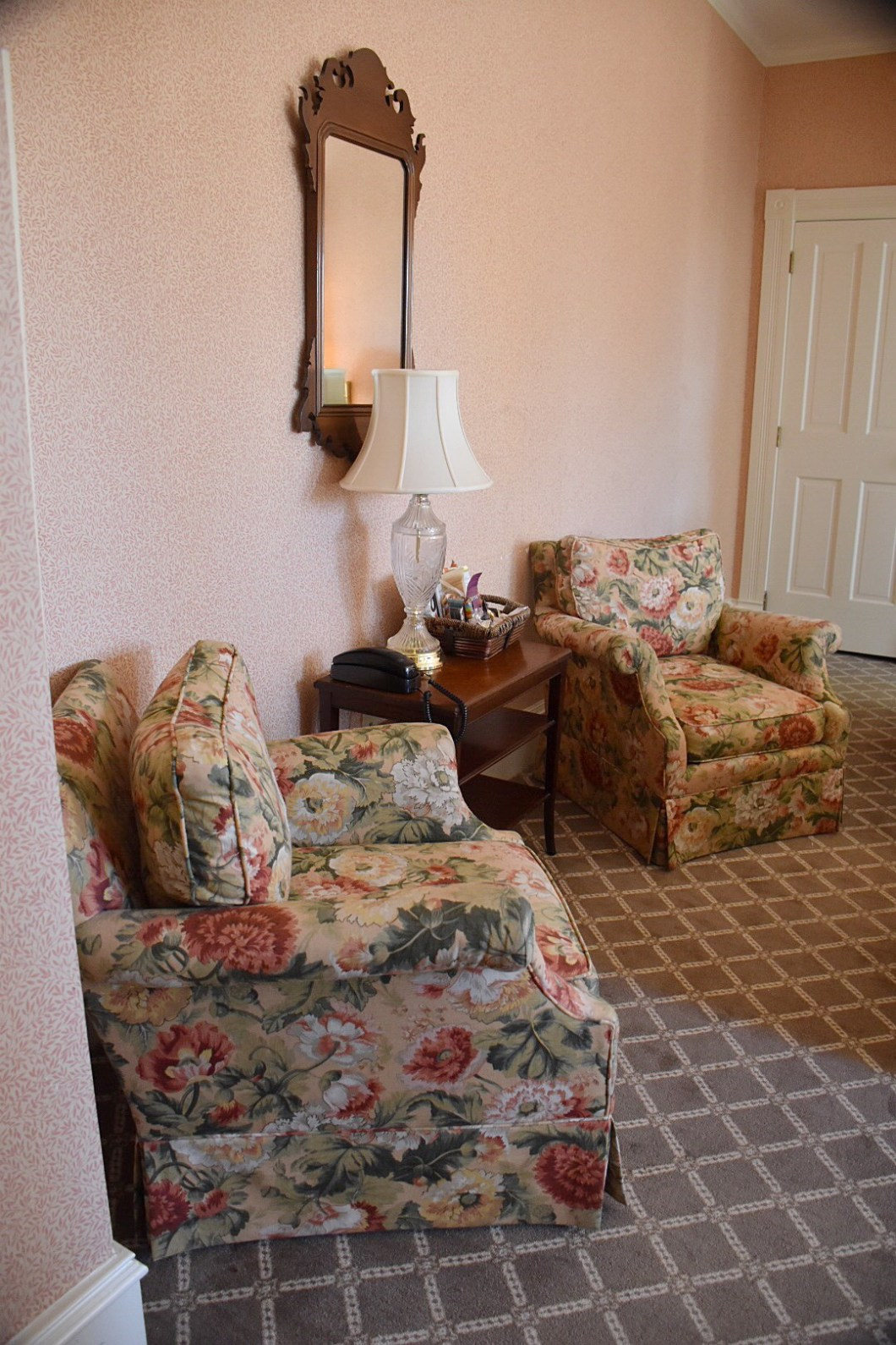floral print chairs