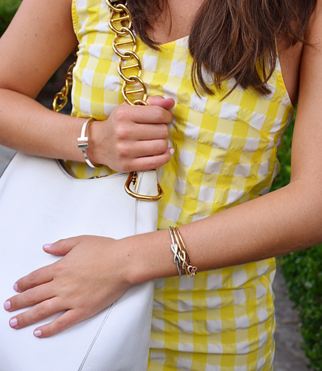 Yellow Gingham Dress, Tiffany & Co. bow bracelets, vintage Prada bag