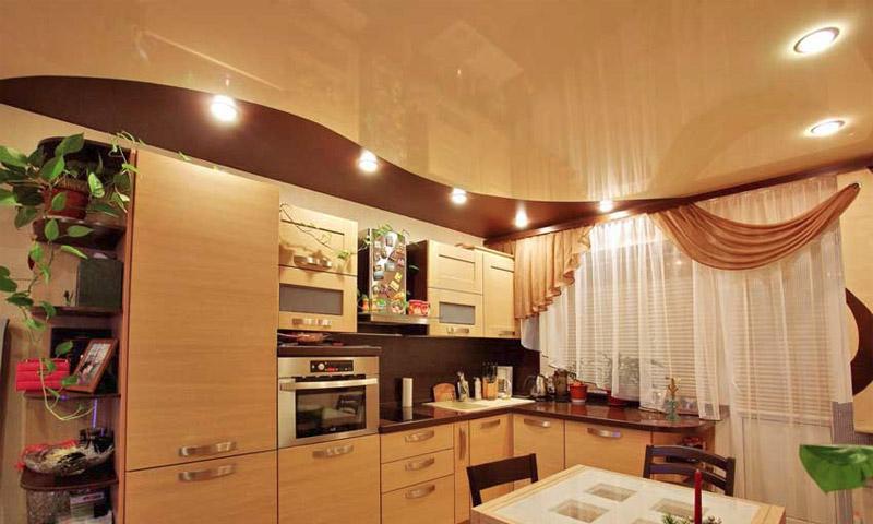 дизайн натяжных потолков на кухне фото 1