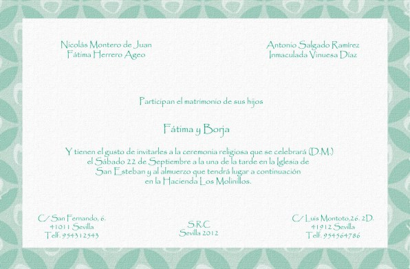 Invitación estampado esmeralda