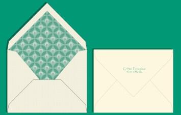 Sobre invitación estampado esmeralda