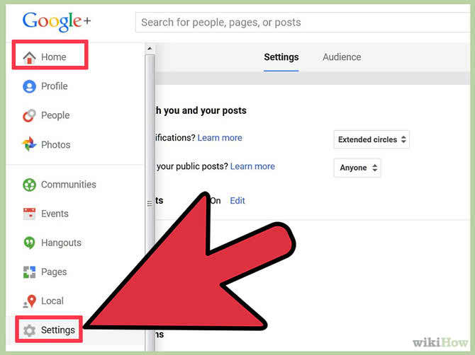 settings google plus