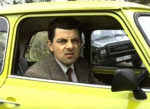 Car Driving Mr Bean With Upset Face Expression Funny Picture