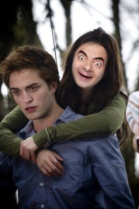 Girl-Mr-Bean-On-Edward-Cullen-Back-Funny-Picture