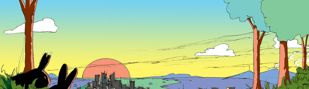 Two rabbits look down over a city.