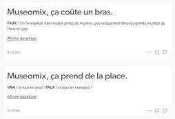 Exemples d'articles sur le blog : Museomix, ça prend de la place